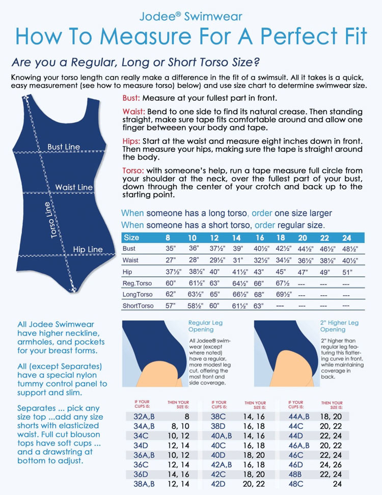 Jodee Swimwear Size Chart