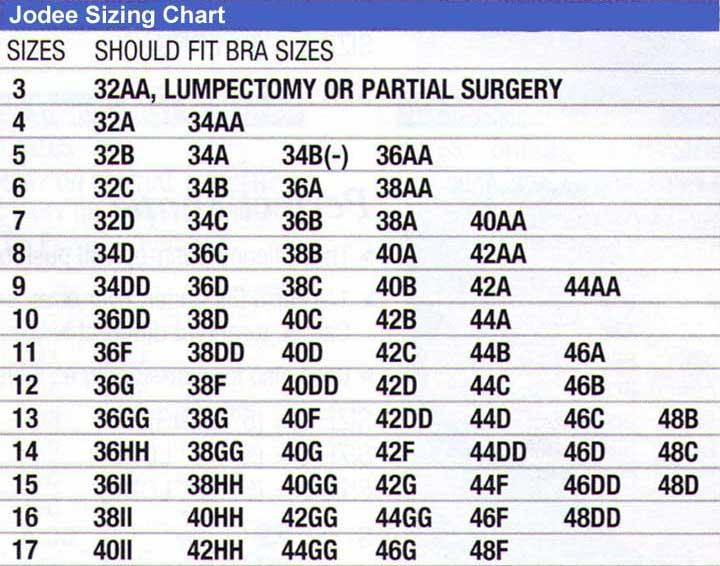 Jodee Size Chart
